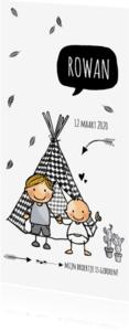 Geboortekaartjes - Geboortekaartje lang broer tiptent