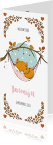 Geboortekaartjes - Geboortekaartje langwerpig lief met slapend vosje en beer
