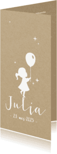 Geboortekaartjes - Geboortekaartje langwerpig  met silhouet meisje en ballon