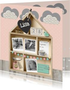 Geboortekaartjes - Geboortekaartje Letterbak Huisje