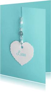 Geboortekaartjes - geboortekaartje lief hart kralen