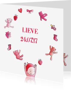 Geboortekaartjes - geboortekaartje meisje baby beren tekeningen