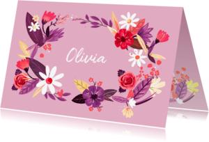 Geboortekaartjes - Geboortekaartje meisje bloemenkrans