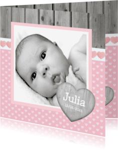 Geboortekaartjes - Geboortekaartje Meisje Hout Roze