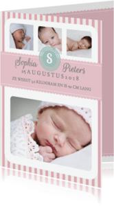 Geboortekaartjes - Geboortekaartje Meisje Strepen