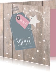 Geboortekaartjes - Geboortekaartje met label Sophie