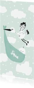 Geboortekaartjes - Geboortekaartje Ooievaar lief groen