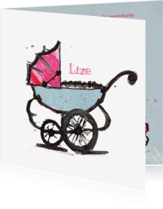 Geboortekaartjes - Geboortekaartje pastel wagen