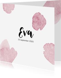 Geboortekaartjes - Geboortekaartje roze watercolor
