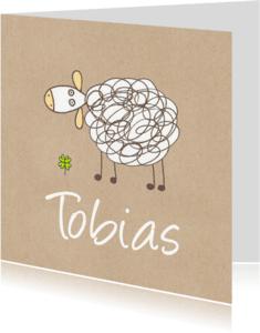 Geboortekaartjes - Geboortekaartje schaap op bruin