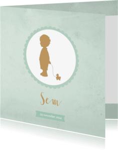 Geboortekaartjes - Geboortekaartje silhouet jongen groen aquarel - BC