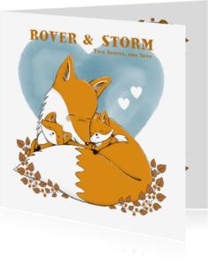 Geboortekaartjes - Geboortekaartje tweeling jongens met vos en watercolour hart