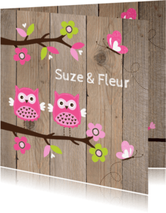 Geboortekaartjes - Geboortekaartje tweeling uiltjes roze - LB