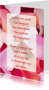 Gedichtenkaarten - Gedichtenkaart Rozenblaadjes