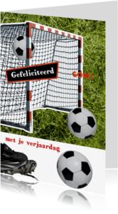 Verjaardagskaarten - Gefeliciteerd voetbal goal