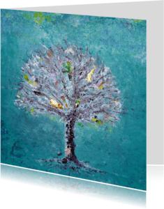Zomaar kaarten - Geschilderde herfst boom met oa goud
