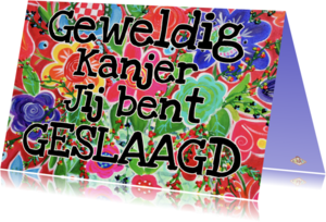 Geslaagd kaarten - Geslaagd kaart bonte bloemen PA