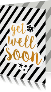 Beterschapskaarten - Get well soon - black/gold