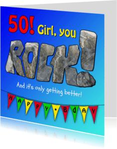 Verjaardagskaarten - Girl, you rock!
