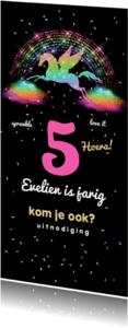 Kinderfeestjes - Glamour unicorn uitnodiging - LO