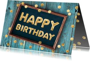 Verjaardagskaarten - gouden ballonnen verjaardagskaart