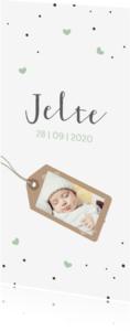 Geboortekaartjes - Groene hartjes en fotolabel