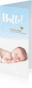 Geboortekaartjes - Hallo kaart langwerpig waterverf blauw - DH
