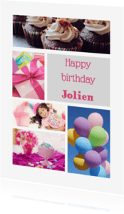 Verjaardagskaarten - Happy birthday collage - DH