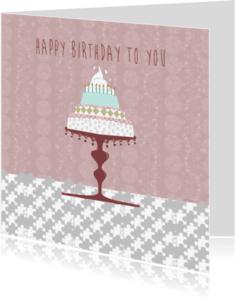 Verjaardagskaarten - happy birthday taart pastel 3