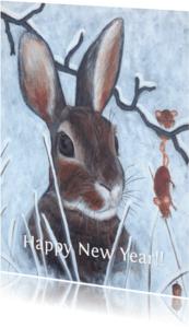 Nieuwjaarskaarten - Happy New year rabbit