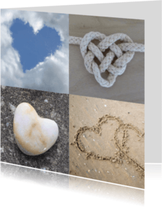 Liefde kaarten - Hartenkaart met vier harten
