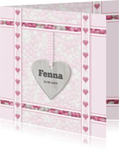 Geboortekaartjes - Hartjes met roze-witte muisjes