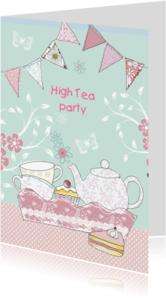 Uitnodigingen - high tea met dienblad en vlaggetjes