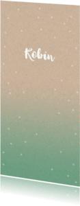 Geboortekaartjes - Hip geboortekaartje met zeegroene fading en stippen