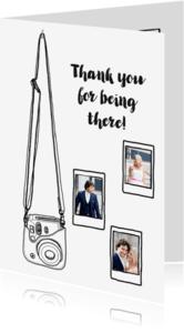 Trouwkaarten - Hippe bedank kaart voor trouwdag met camera en foto's