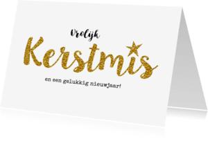 Kerstkaarten - Hippe kerstkaart goud kerstmis ster