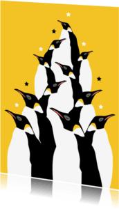 Kerstkaarten - Hippe pinguin kerstkaart