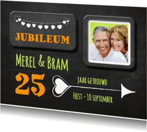 Jubileumkaarten - Hippe uitnodiging Huwelijk - SG