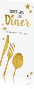 Uitnodigingen - Hippe uitnodiging (kerst) diner bestek goud sterren