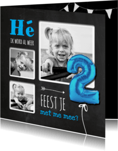 Kinderfeestjes - Hippe Uitnodiging Krijt 2 Blauw - SG