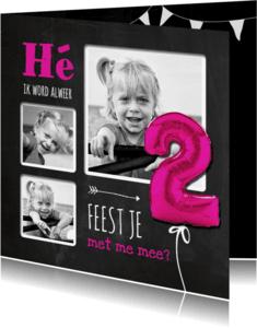 Kinderfeestjes - Hippe Uitnodiging Krijt 2 Roze - SG