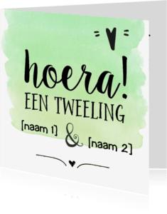 Felicitatiekaarten - Hoera een tweeling [eigen namen]