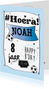Verjaardagskaarten - Hoera grafisch en voetballen