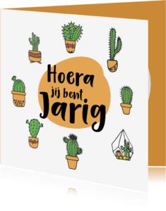 Verjaardagskaarten - hoera jij bent jarig cactus