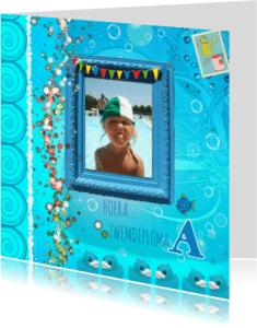 Geslaagd kaarten - Hoera, zwemdiploma bubbels