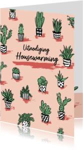 Uitnodigingen - Housewarming uitnodiging gezellige cactus plantjes