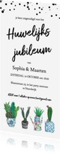 Uitnodigingen - huwelijks jubileum cactus trendy