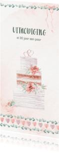 Uitnodigingen - Huwelijksjubileum bruidstaart, rozen, hartjes en lint