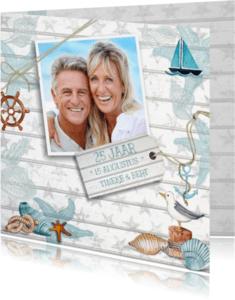 Jubileumkaarten - Huwelijksjubileum Strand Hout