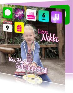 Verjaardagskaarten - I pad felicitatie meisje